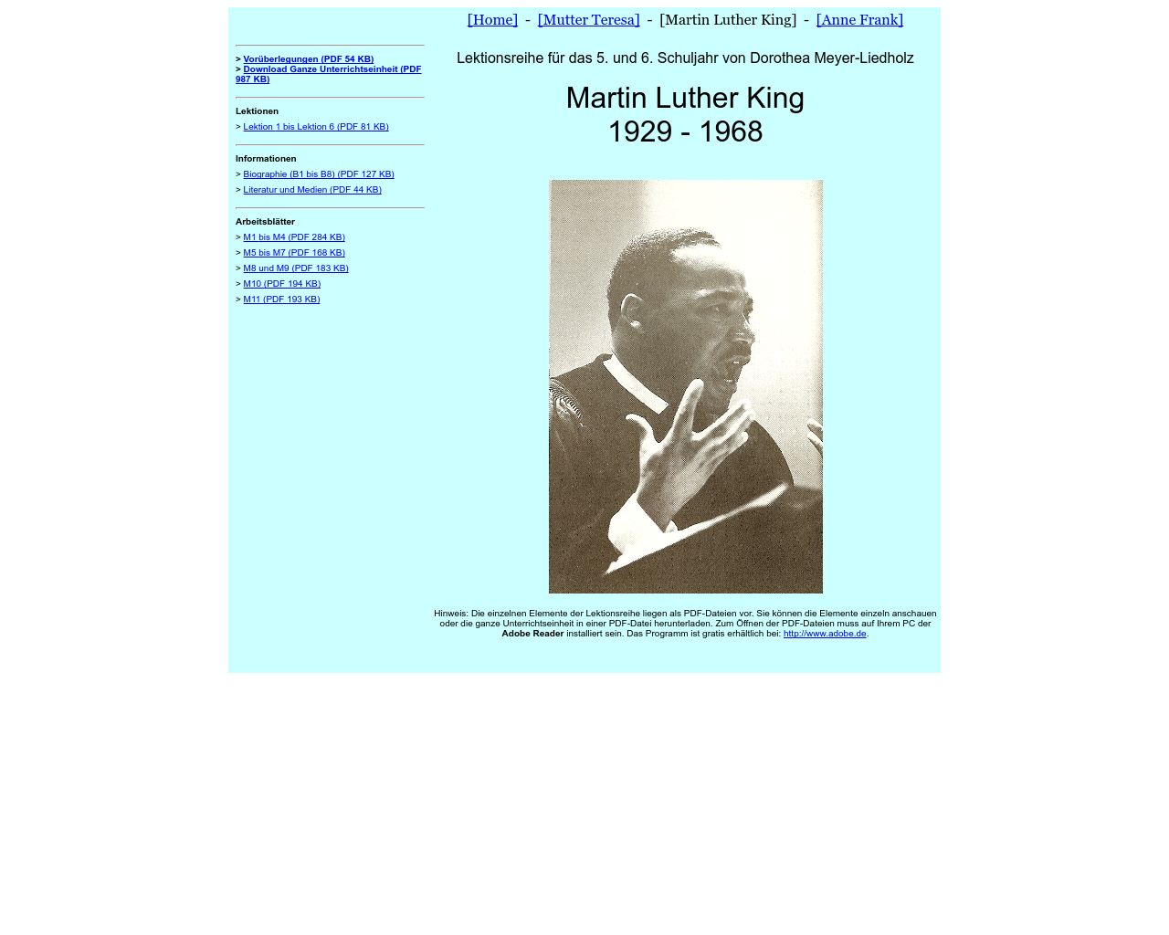 Martin Luther King – Material