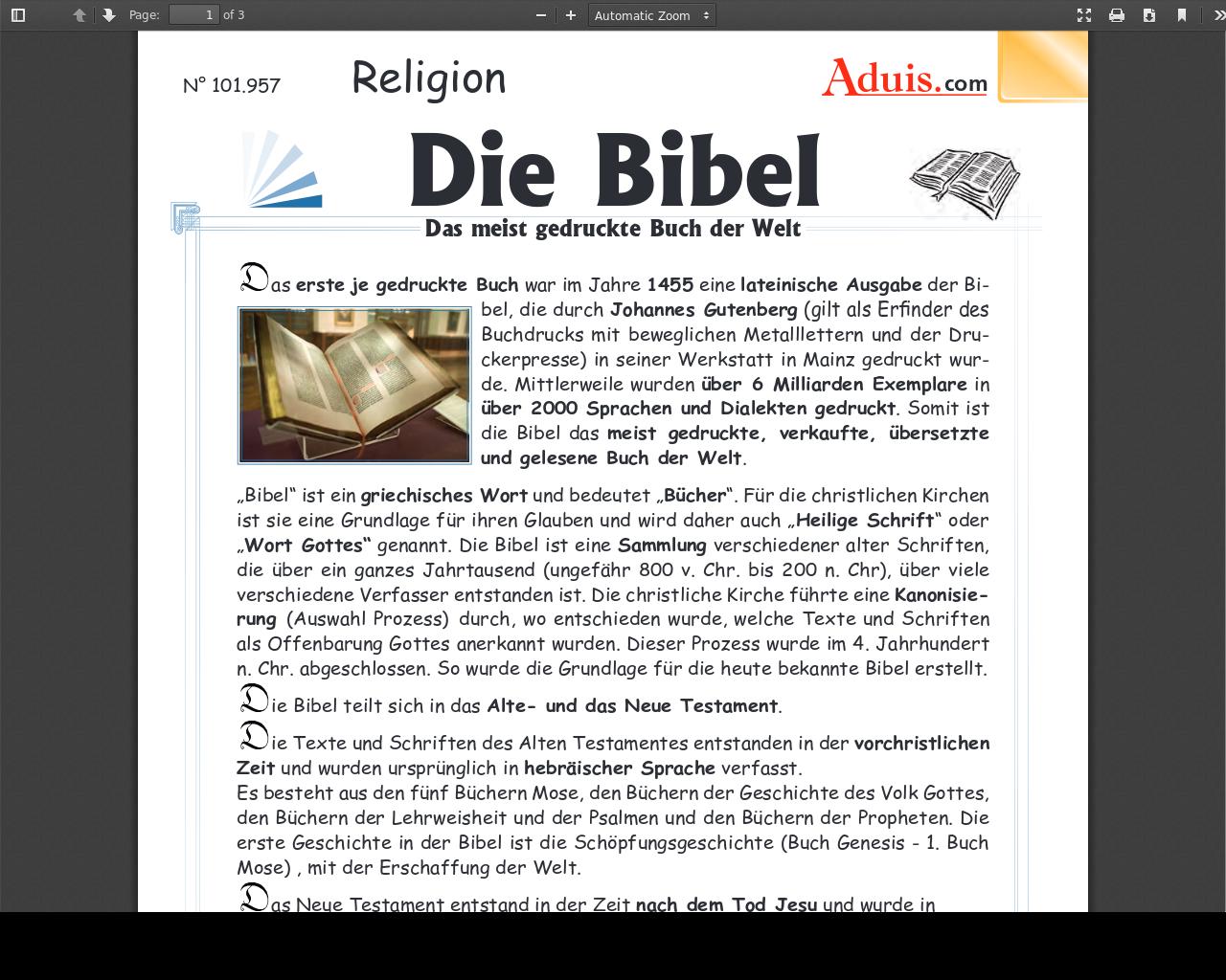 Die Bibel   Das meist gedruckte Buch der Welt   material