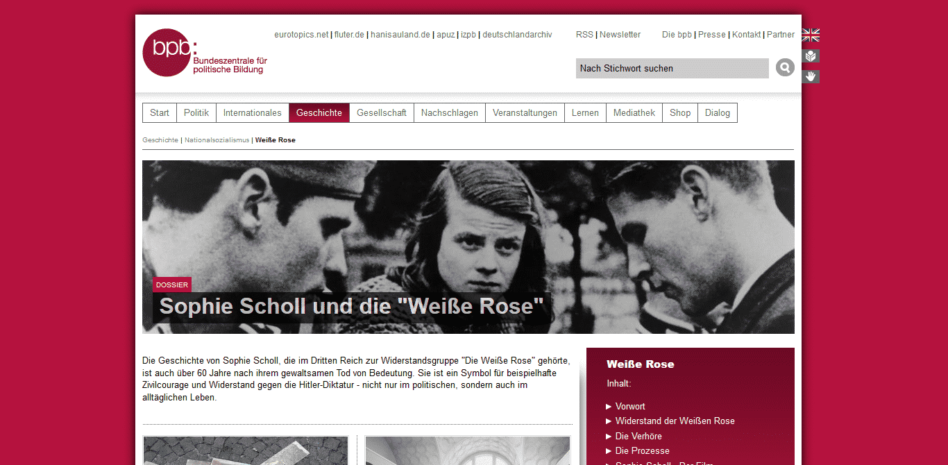 Website der weißen Rose